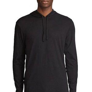 Black Ribbed Full Length Hooded Shirt